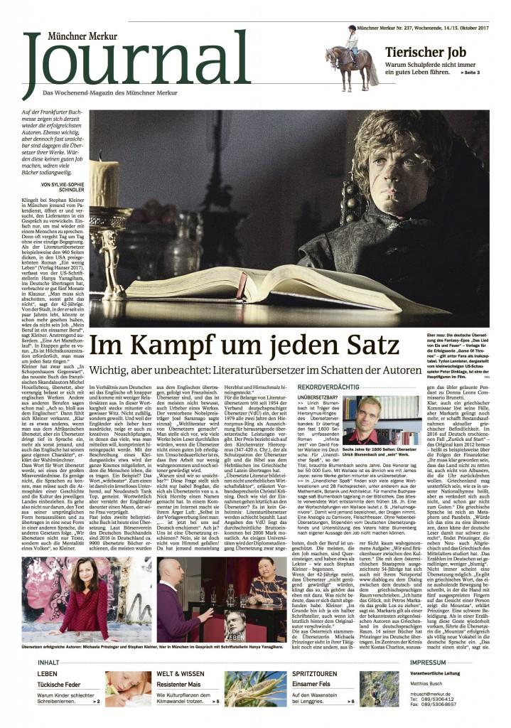 Artikel in Muenchner Merkur