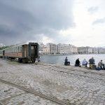 Thessaloniki, Strand, Straßenbahn, Fischer