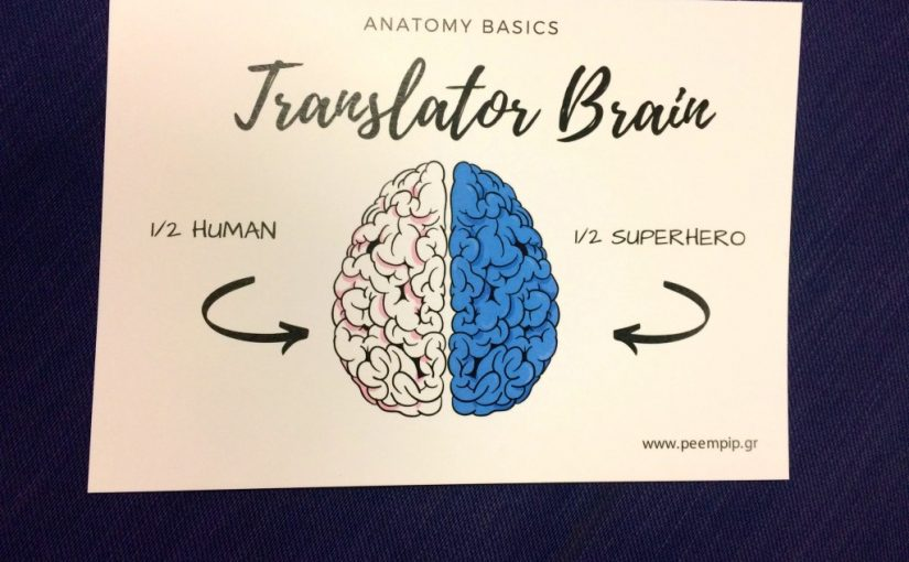 Postkarte mit zwei Gehirnhälften Übersetzer